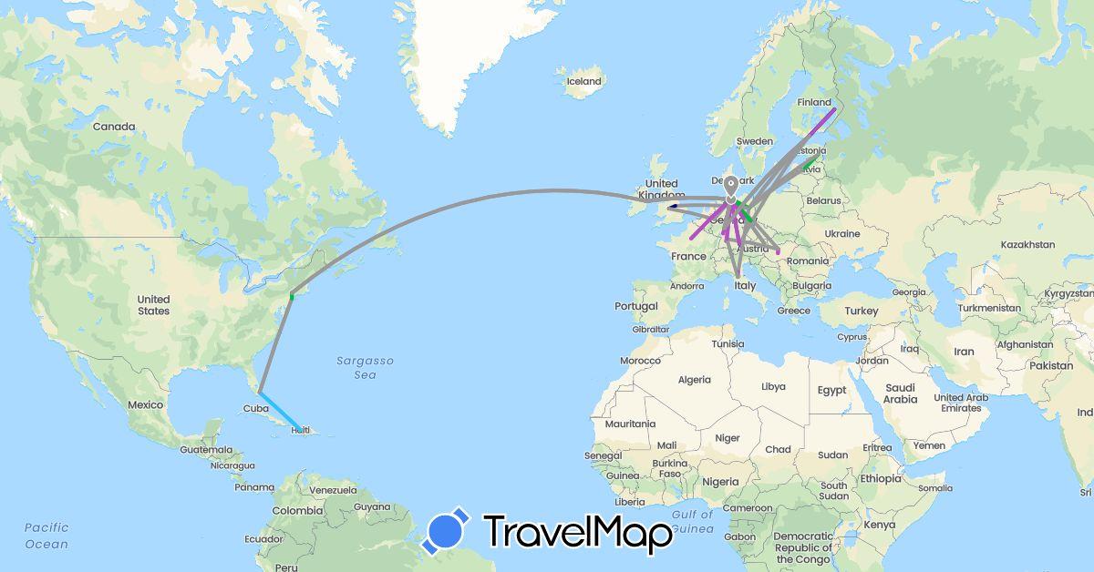 TravelMap itinerary: driving, bus, plane, train, boat in Austria, Germany, Estonia, Finland, France, United Kingdom, Haiti, Hungary, Ireland, Italy, Latvia, United States (Europe, North America)